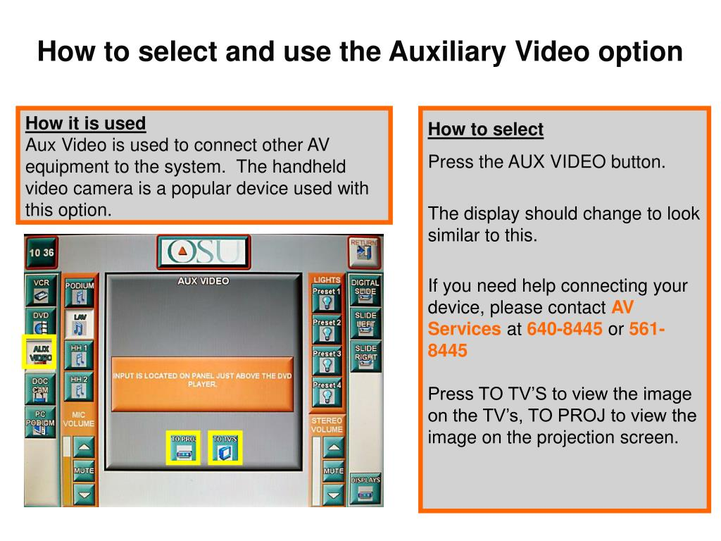 How to select and use the Auxiliary Video option