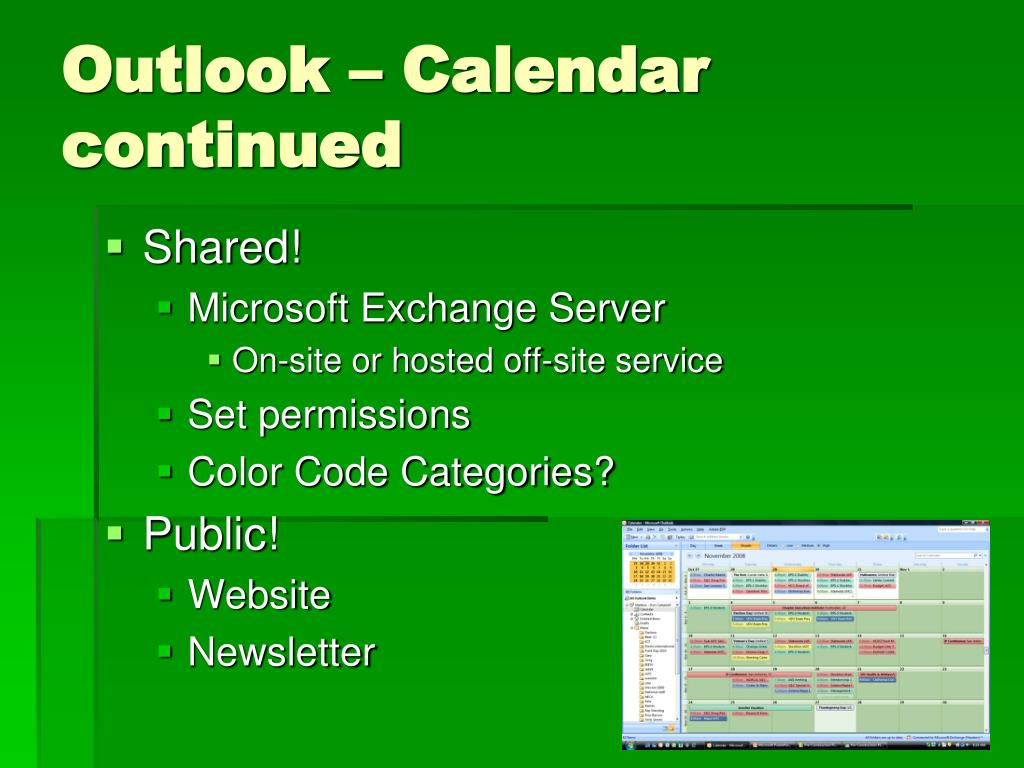 Outlook – Calendar continued