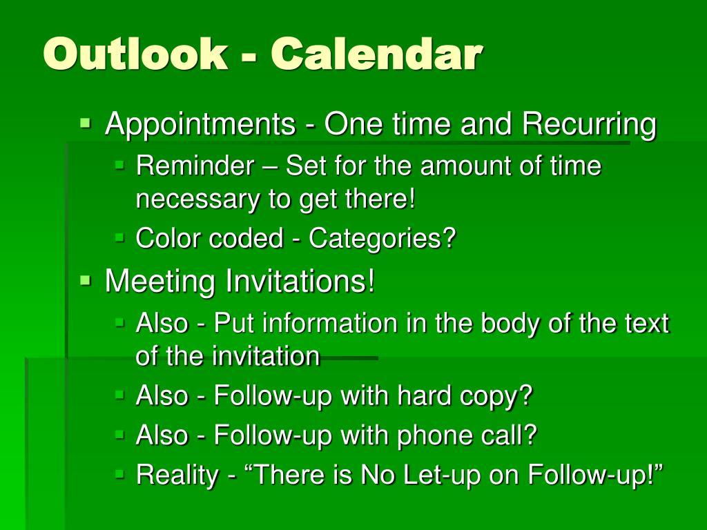 Outlook - Calendar