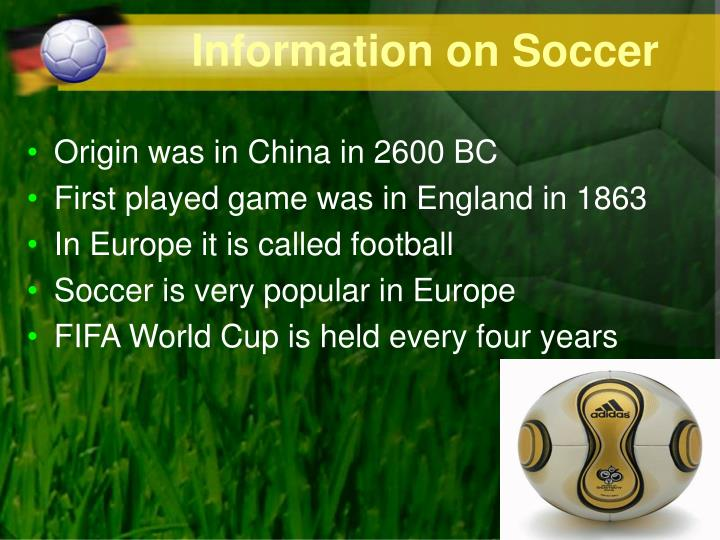 Information on Soccer