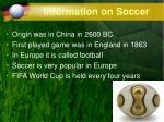 information on soccer