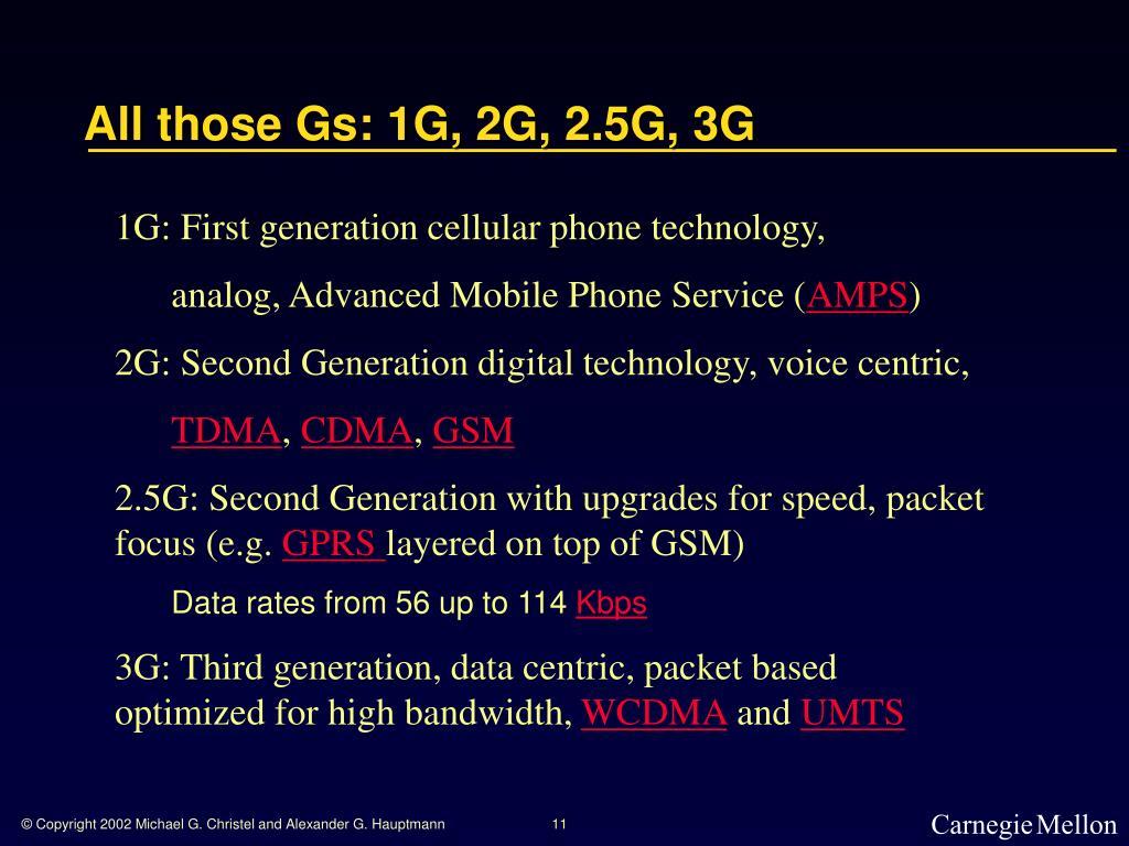 All those Gs: 1G, 2G, 2.5G, 3G
