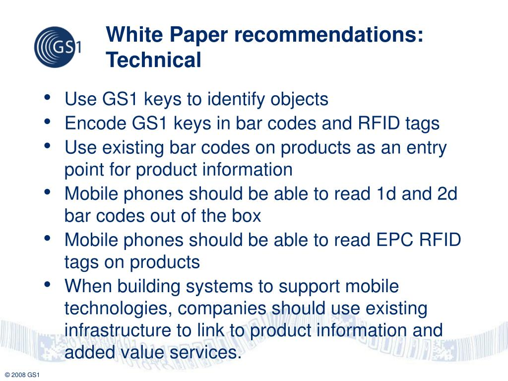 White Paper recommendations: Technical