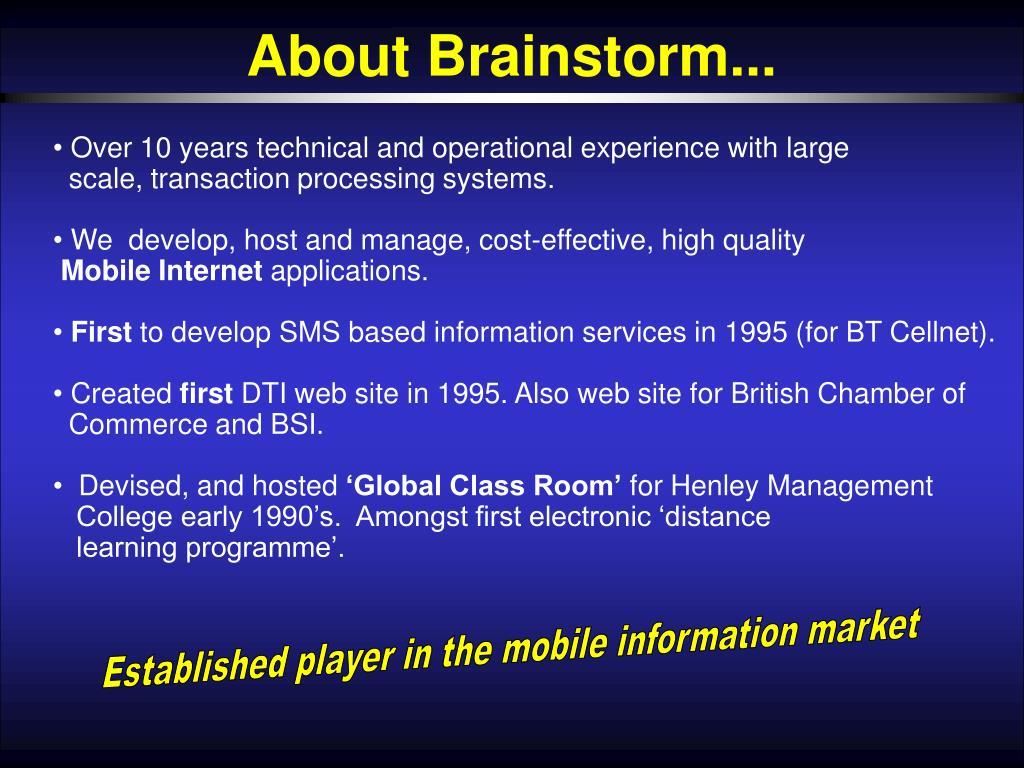 About Brainstorm...
