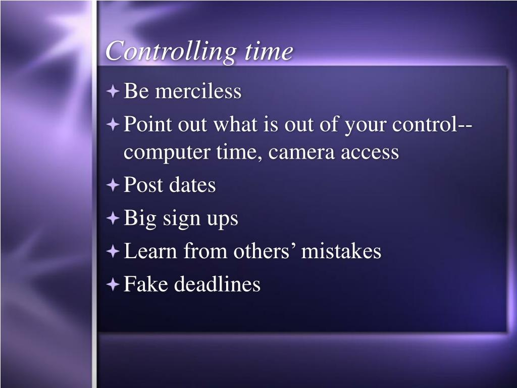 Controlling time