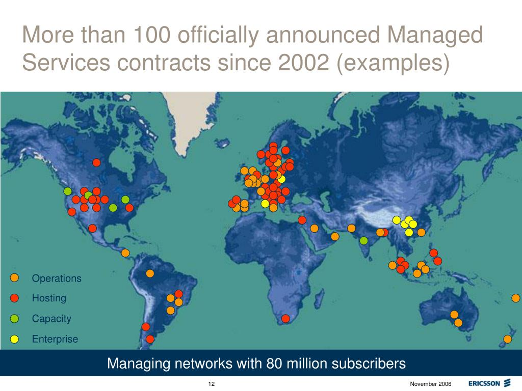 More than 100 officially announced Managed Services contracts since 2002 (examples)