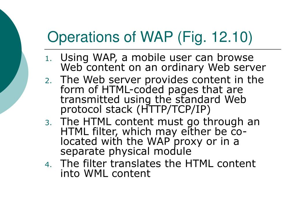 Operations of WAP (Fig. 12.10)