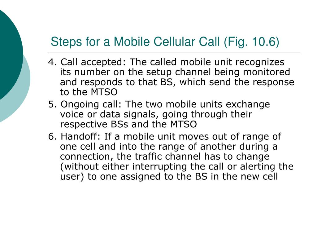 Steps for a Mobile Cellular Call (Fig. 10.6)