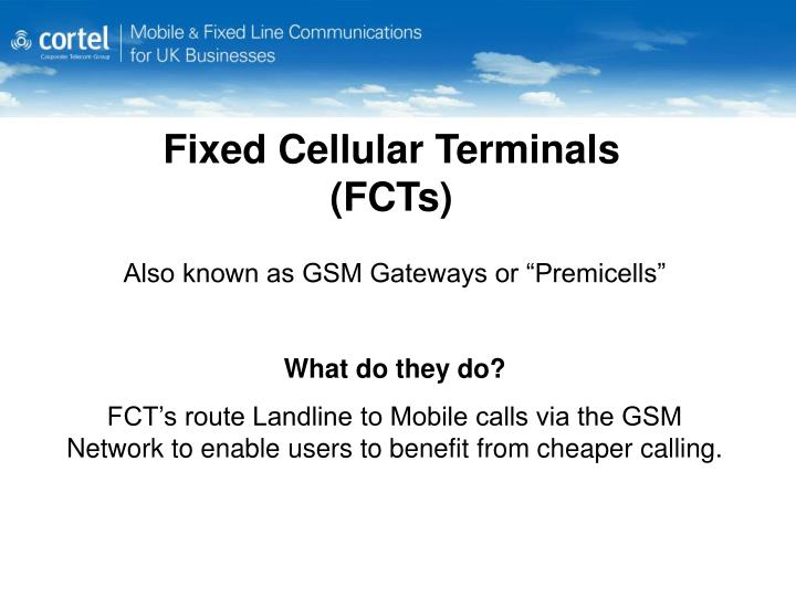 Fixed cellular terminals fcts