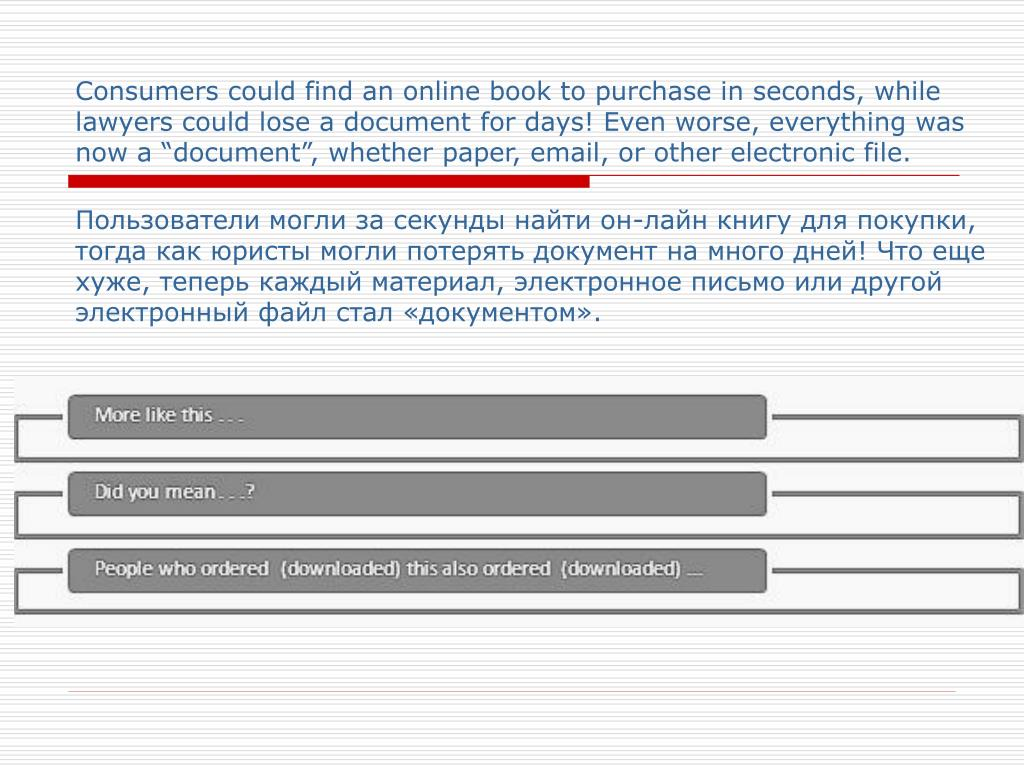 Consumers could find an online book to purchase in seconds,