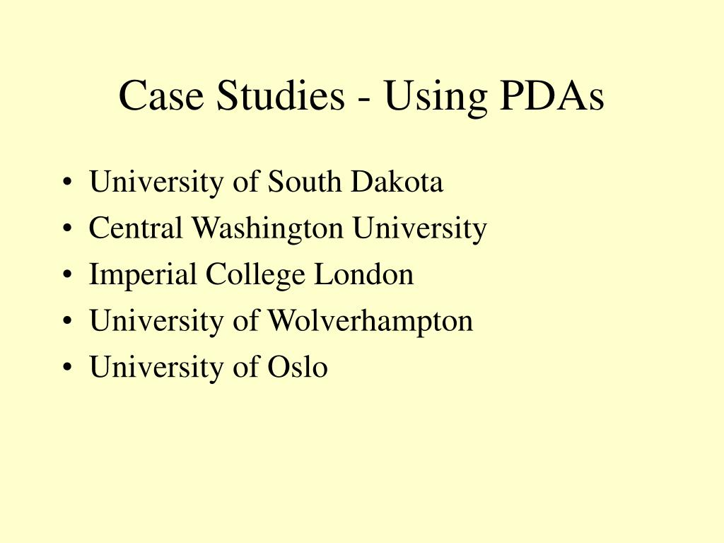 Case Studies - Using PDAs