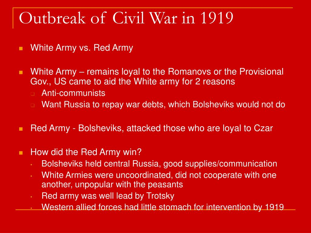 Outbreak of Civil War in 1919