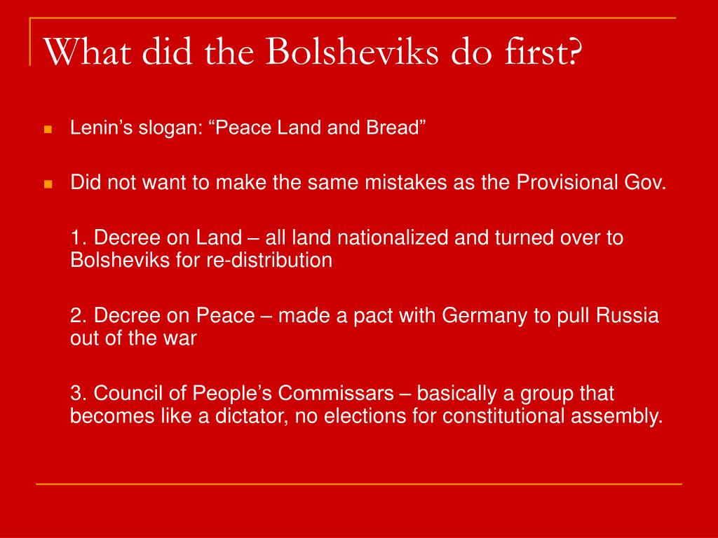 What did the Bolsheviks do first?