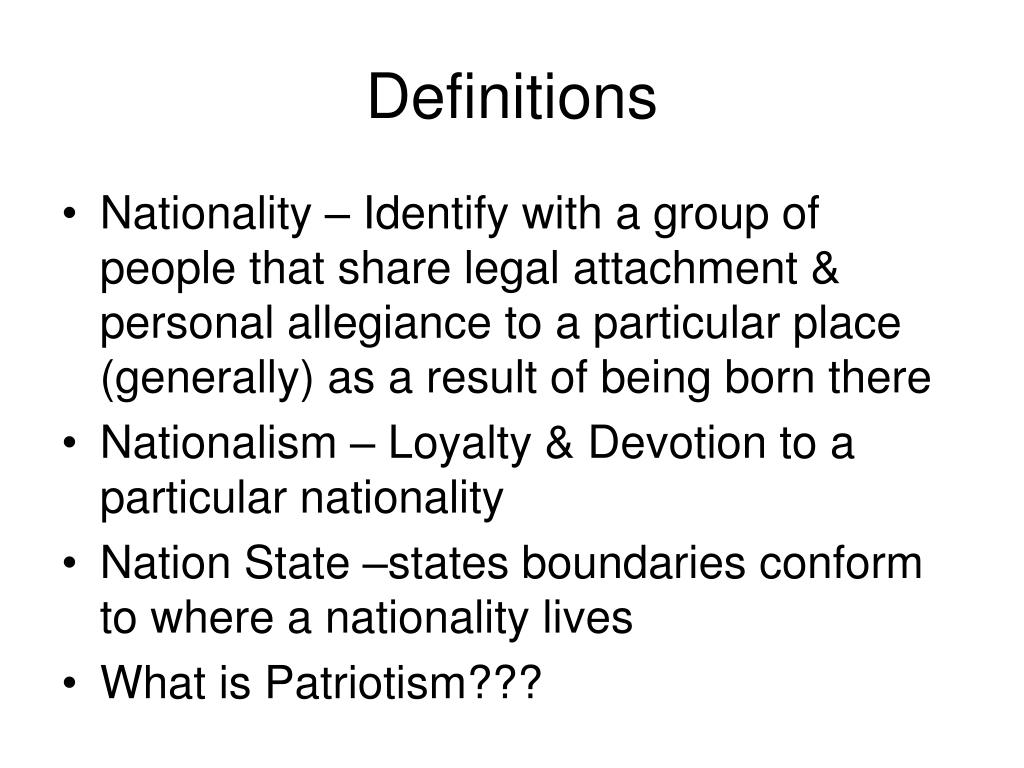 a personal definition of nationalism