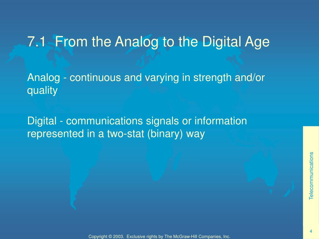 7.1  From the Analog to the Digital Age