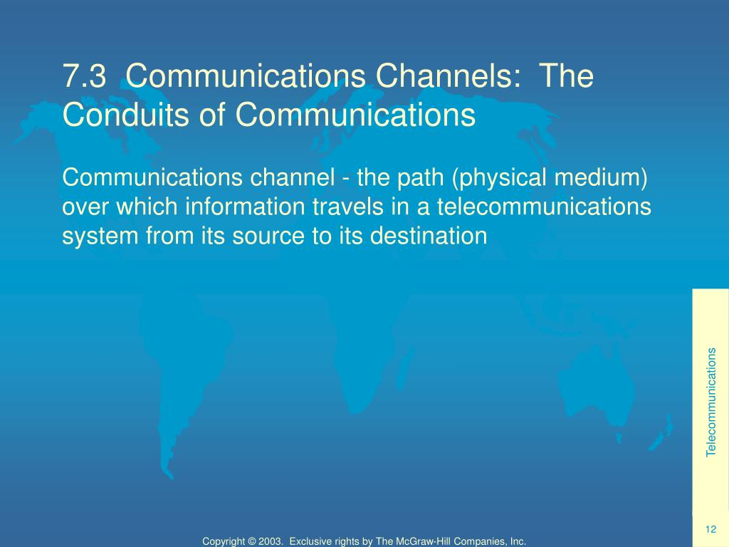 7.3  Communications Channels:  The Conduits of Communications