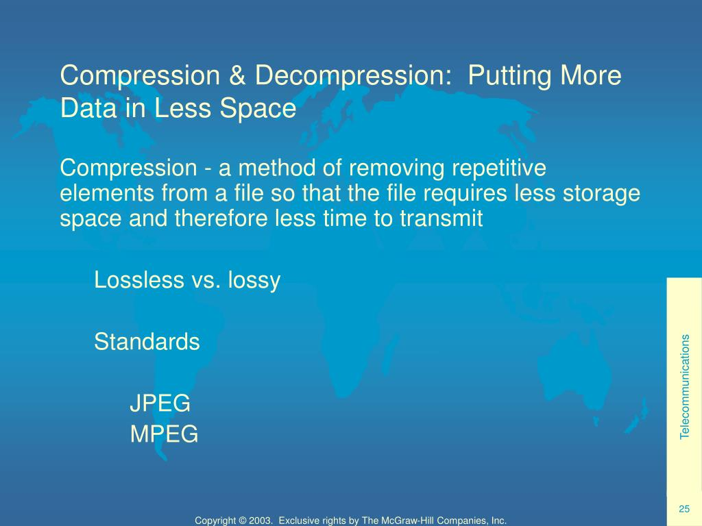 Compression & Decompression:  Putting More Data in Less Space