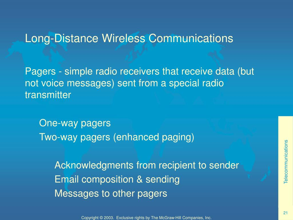 Long-Distance Wireless Communications