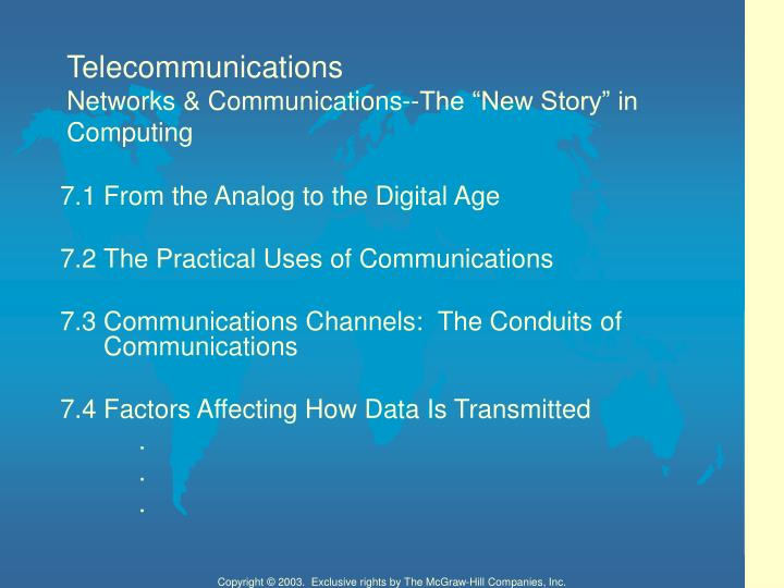 Telecommunications networks communications the new story in computing