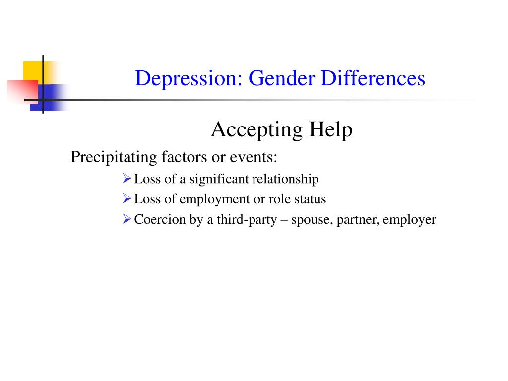 gender differences in depression 2005-2-17 gender and mental health jill astbury december 1999  gender differences in mental health outcomes are described,  depression is used as an illustrative example of a.