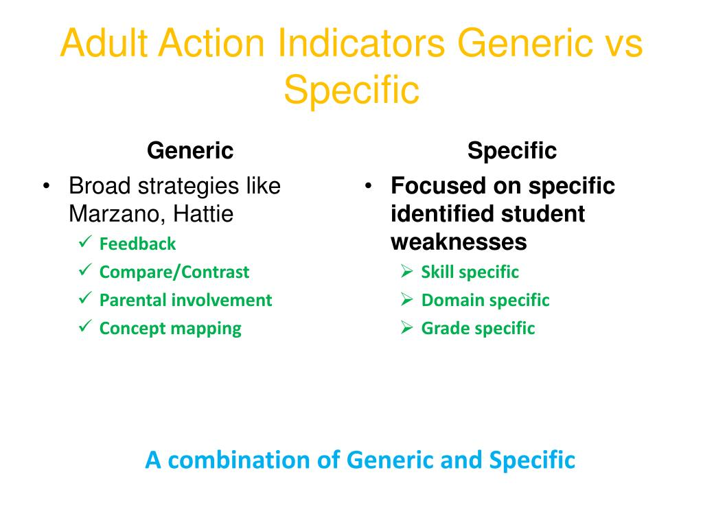 Adult Action Indicators Generic vs Specific