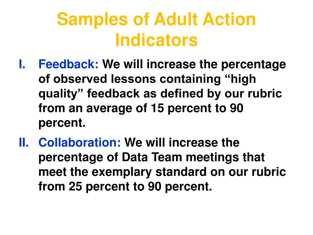 Samples of Adult Action Indicators
