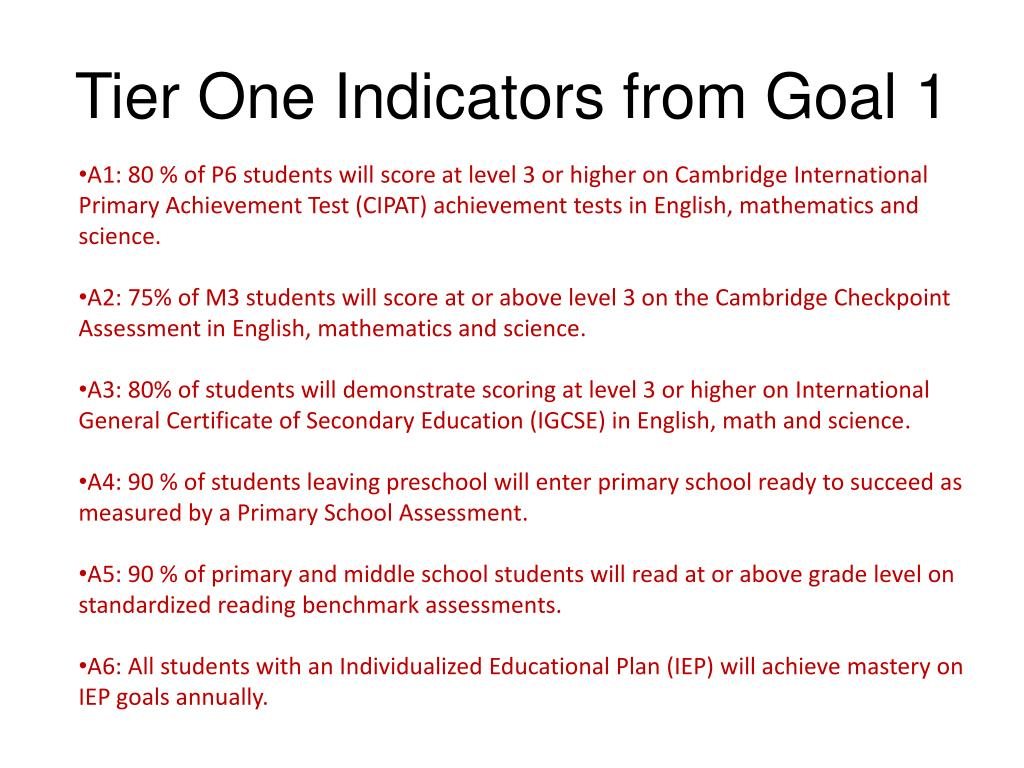 Tier One Indicators from Goal 1
