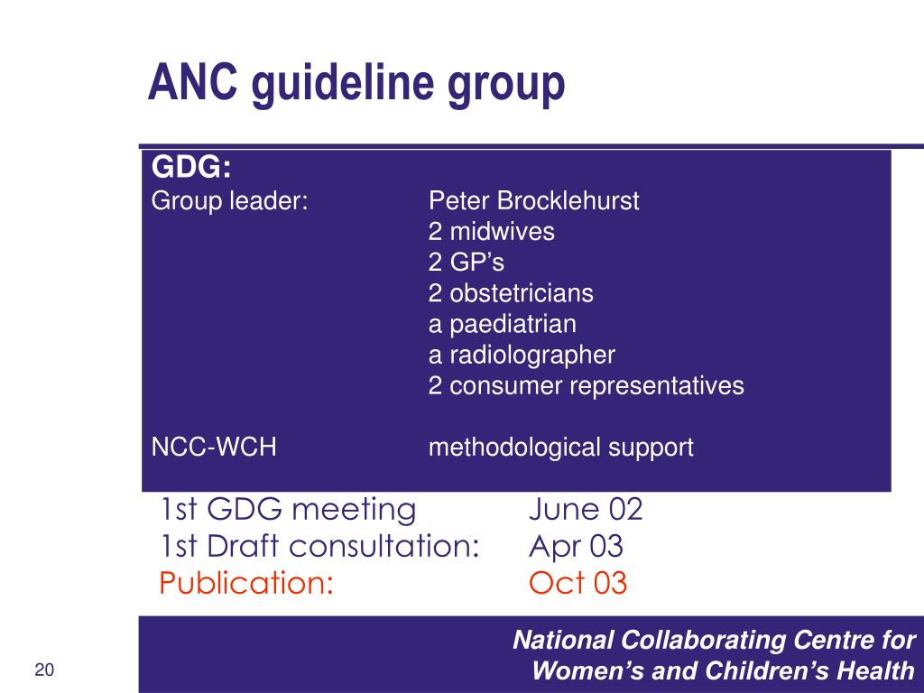 ANC guideline group