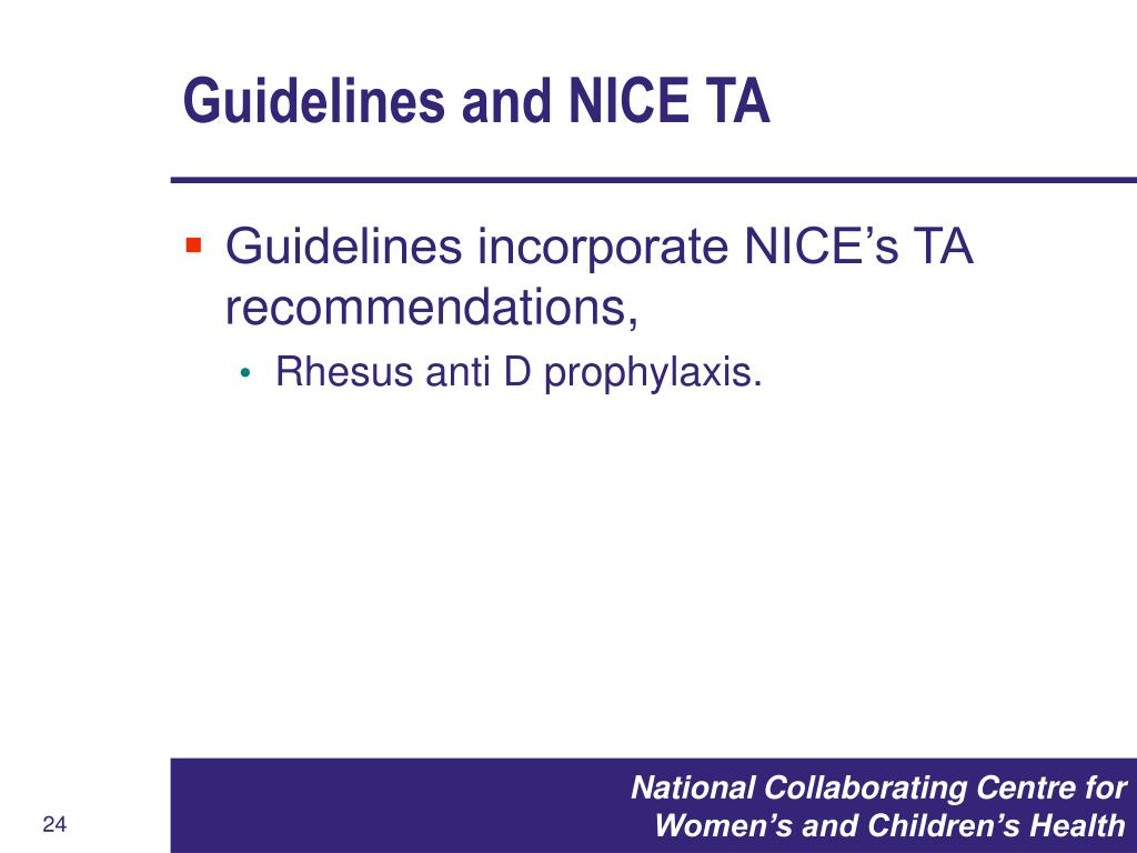 Guidelines and NICE TA