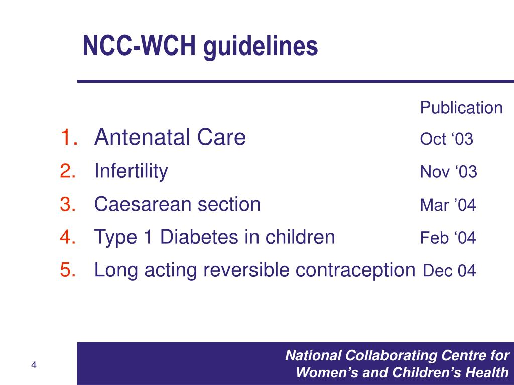NCC-WCH guidelines