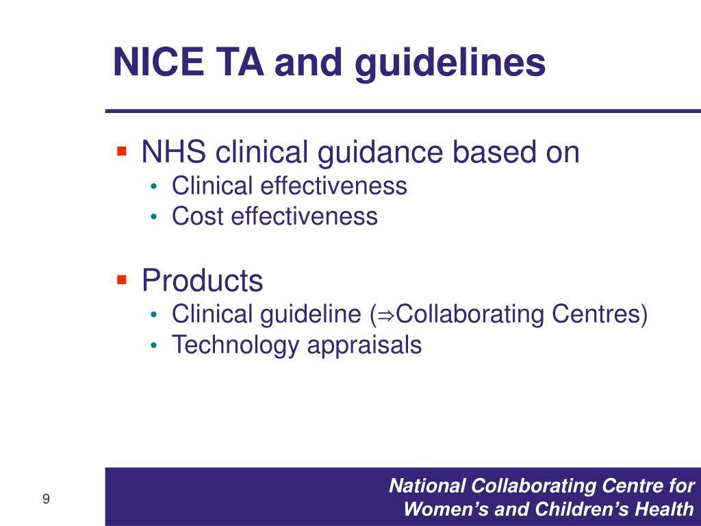 NICE TA and guidelines