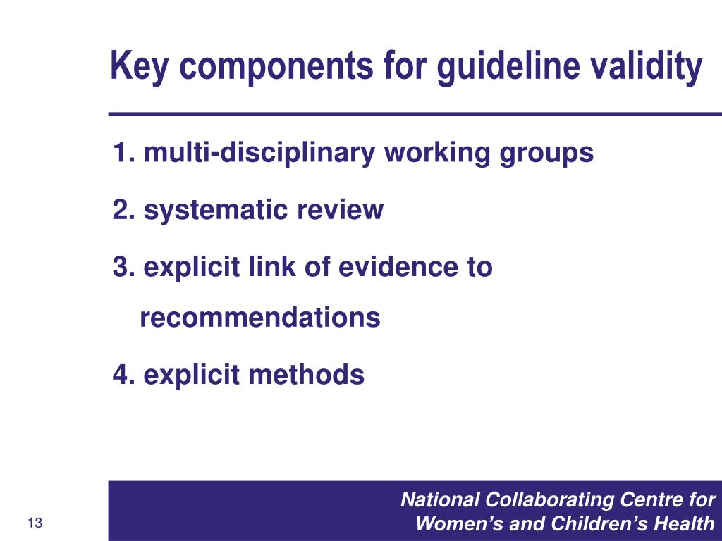 Key components for guideline validity