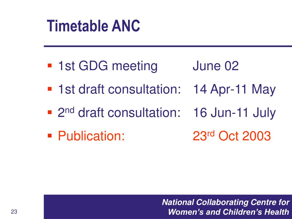 Timetable ANC