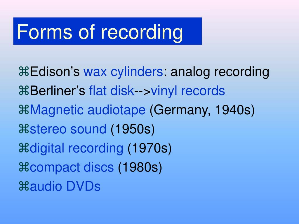 Forms of recording