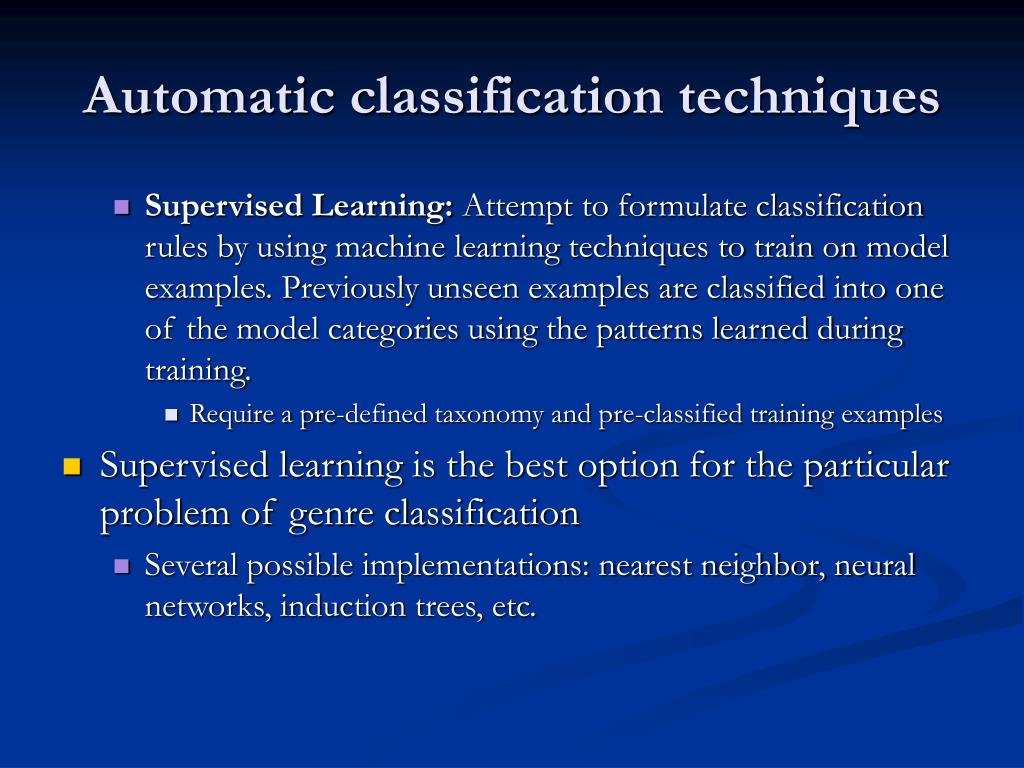 Automatic classification techniques