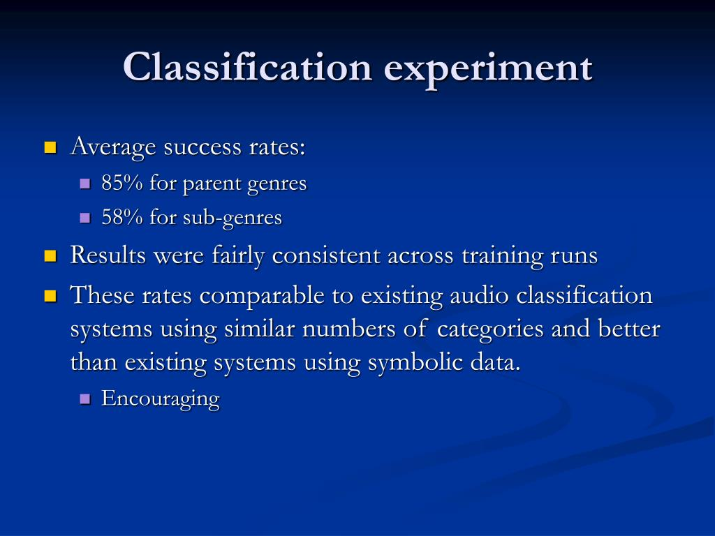 Classification experiment
