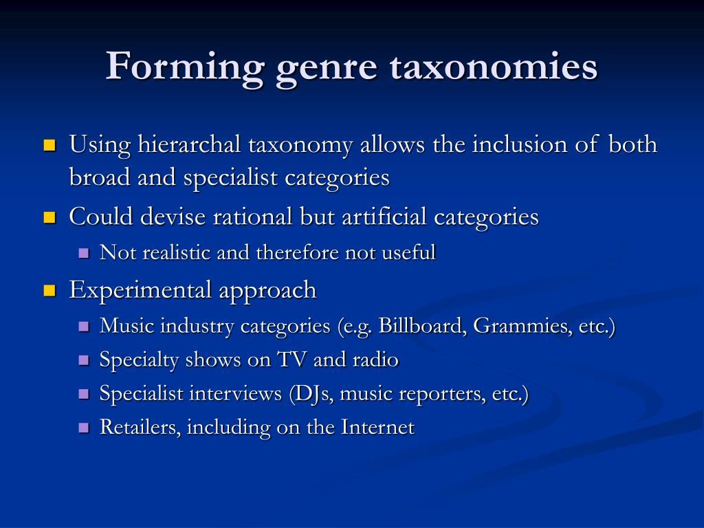 Forming genre taxonomies