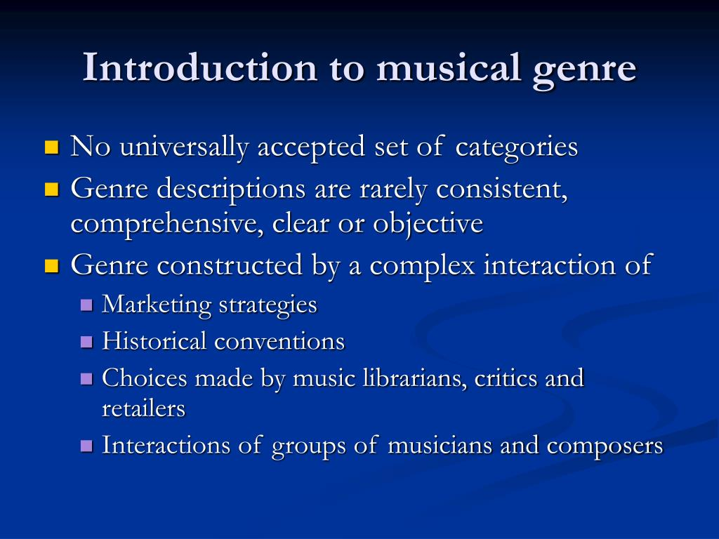 Introduction to musical genre