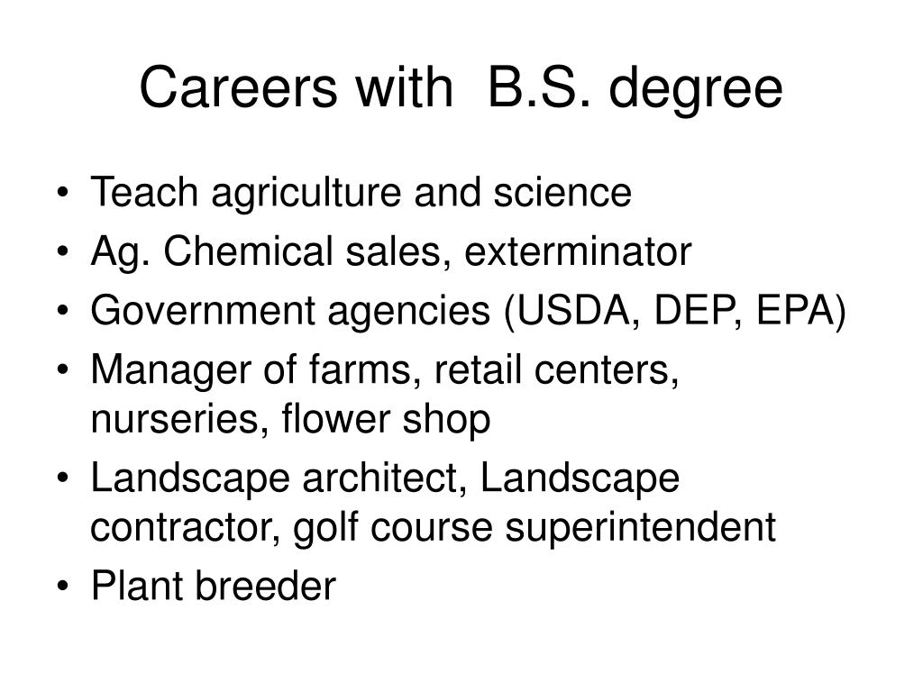 Careers with  B.S. degree