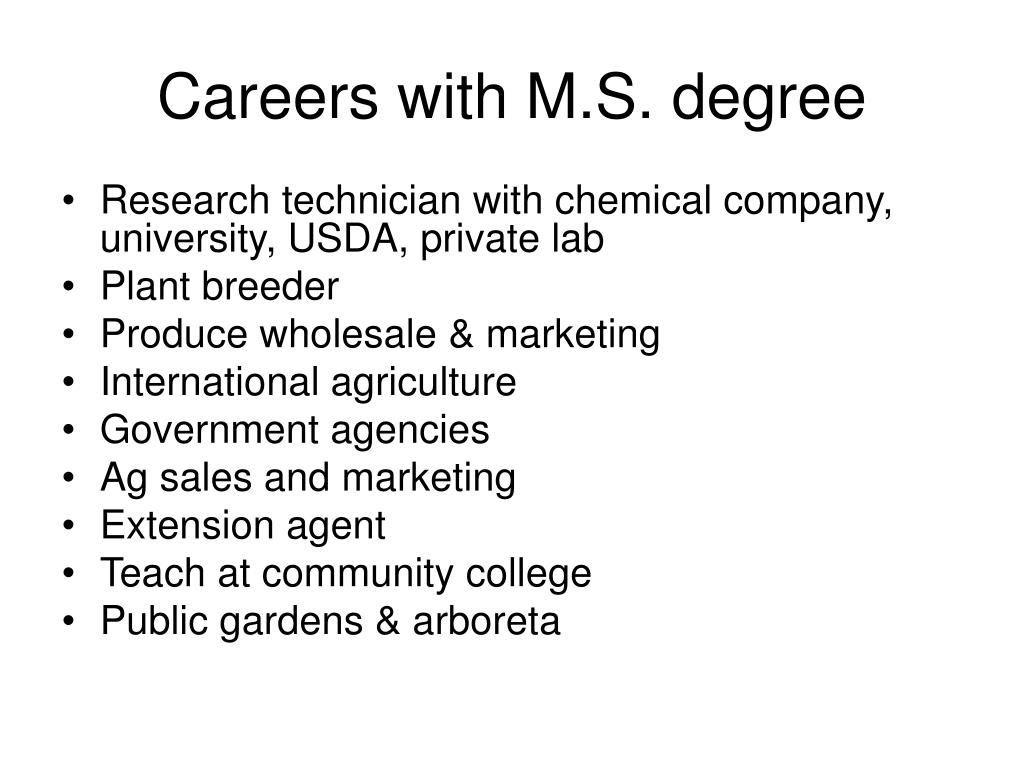 Careers with M.S. degree