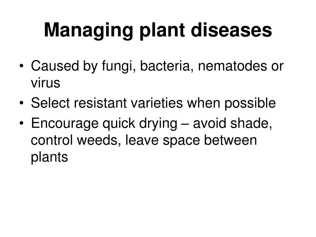 Managing plant diseases