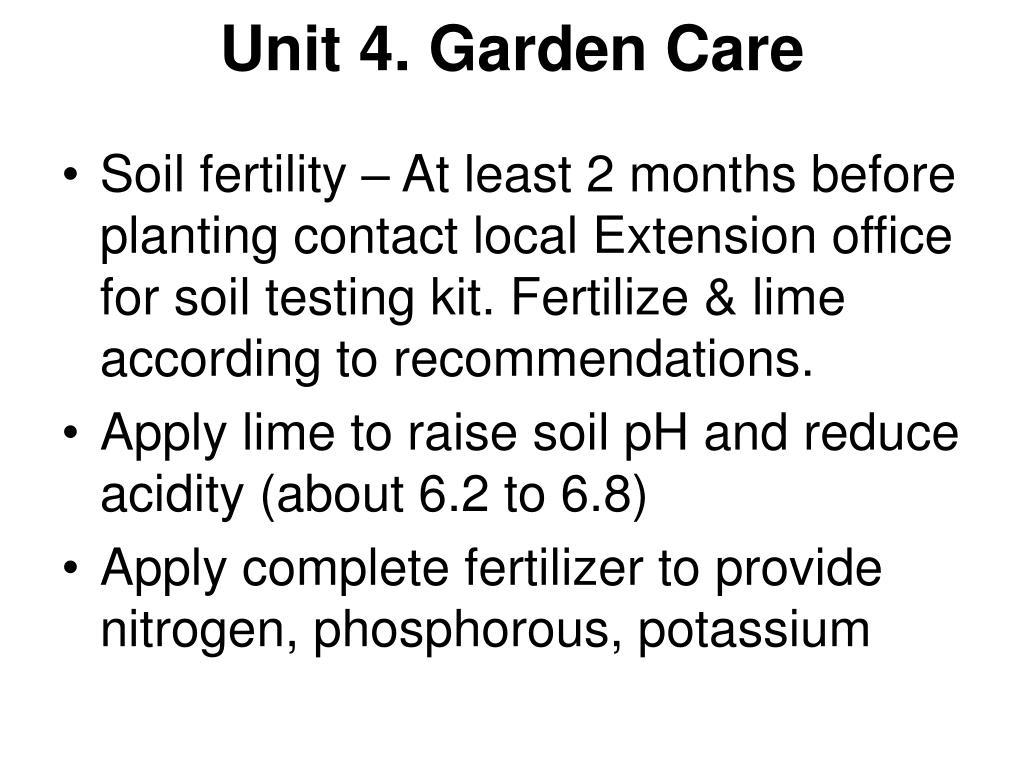 Unit 4. Garden Care