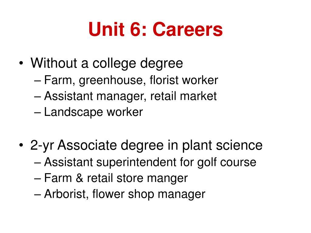 Unit 6: Careers