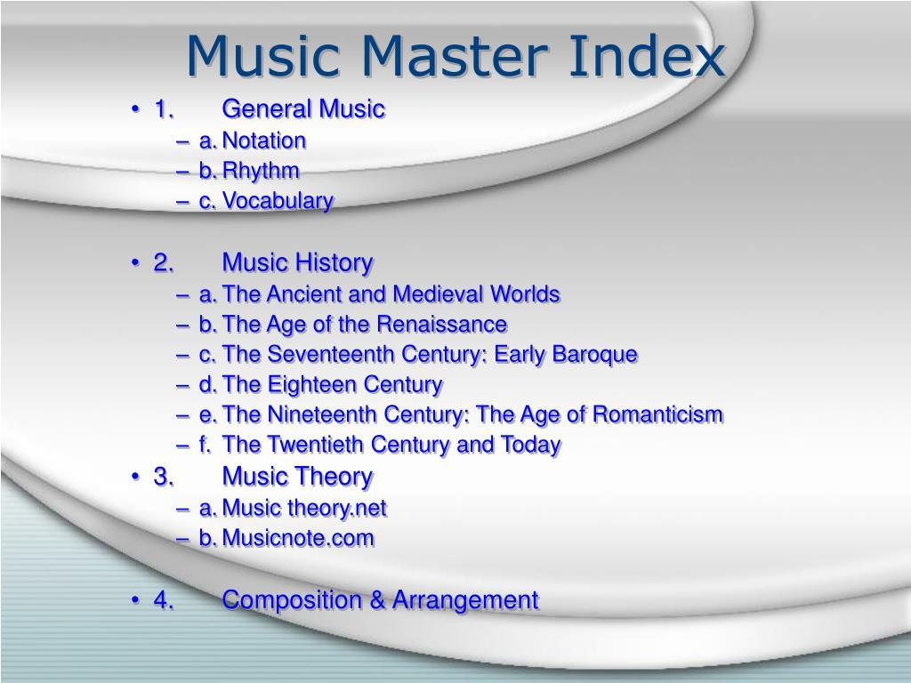 Music Master Index