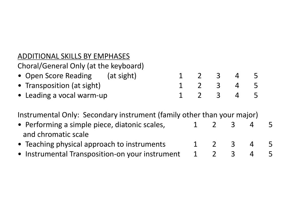 ADDITIONAL SKILLS BY EMPHASES