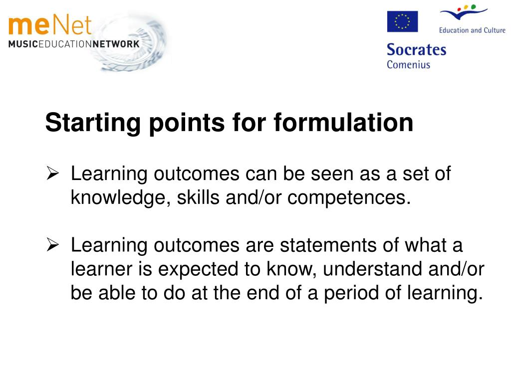 Starting points for formulation