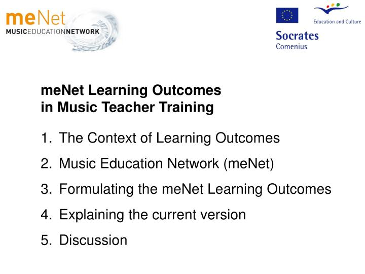 MeNet Learning Outcomes