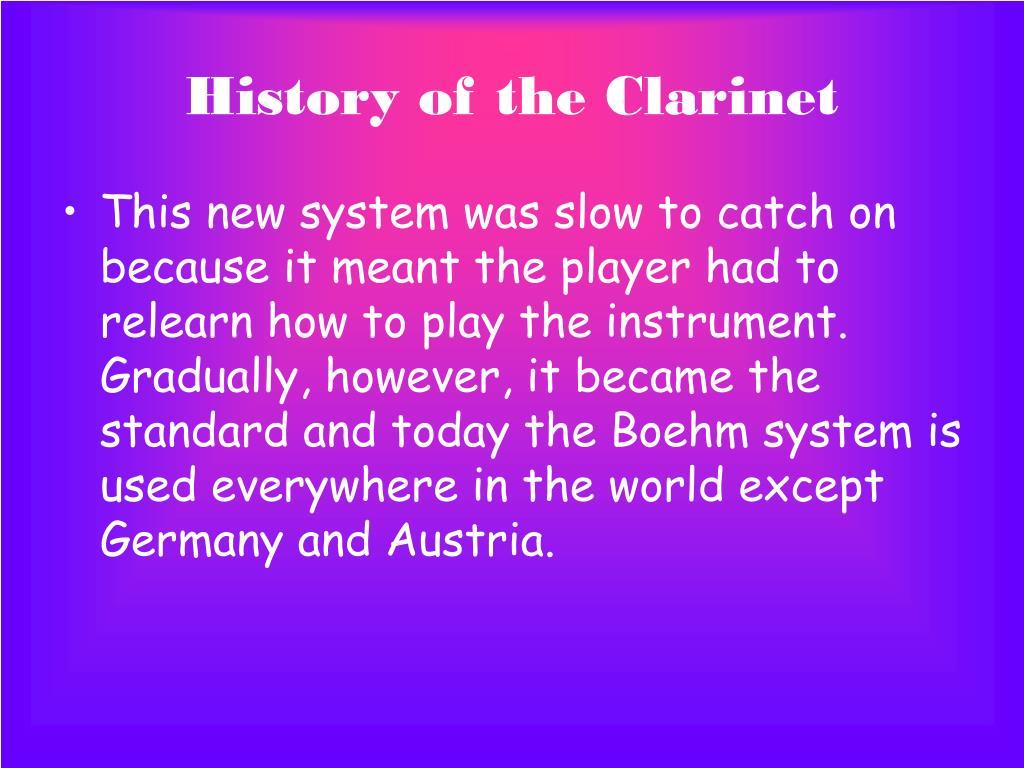 History of the Clarinet