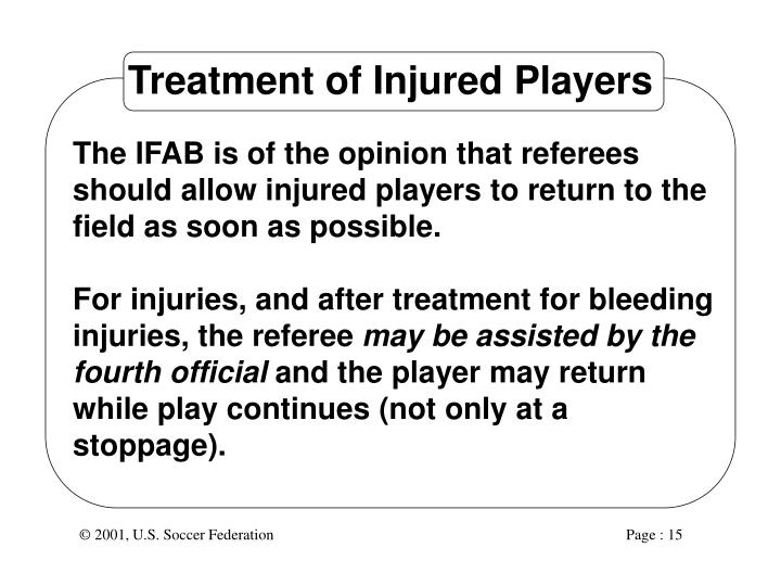 Treatment of Injured Players