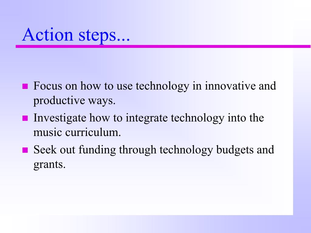 Action steps...